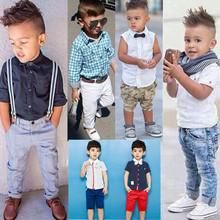 Retail 2015 new summer style baby boys clothing set children clothing set fashion kids costumes free shipping(China (Mainland))