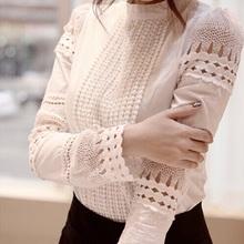 S-XXL New Fashion Spring Autumn Women blouses Cutout long-sleeve Shirt White Shirt OL Work Wear Women Lace Blouse Tops(China (Mainland))