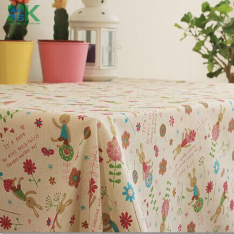 2016 Summer new Newest HOT European High grade cartoon design linen tablecloth easy clean check table cloth on sale , freee ship(China (Mainland))