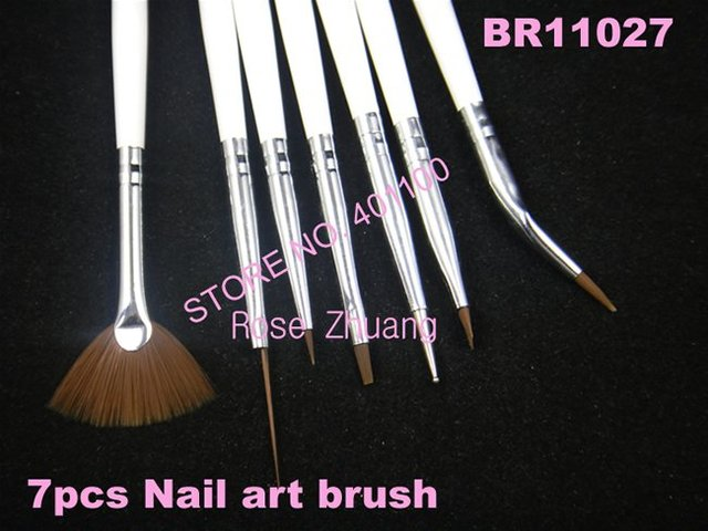 Freeshipping-7pcs Nail Art Design Brushes Gel Set Painting Drawing Pen Polish White Handle wholesales SKU:G0042X