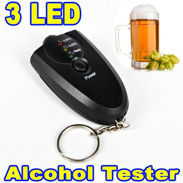 Portable Keychain Red Light LED Flashlight Alcohol Breath Tester Breathalyzer Mini Professional Key Chain Alcohol Meter Analyzer(China (Mainland))