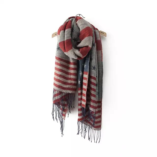 Autumn Winter Male female General Strip American Flag Woolen Jacquard Scarf Tassel Thick scarf Muffler Neckchief Shawl Wraps(China (Mainland))