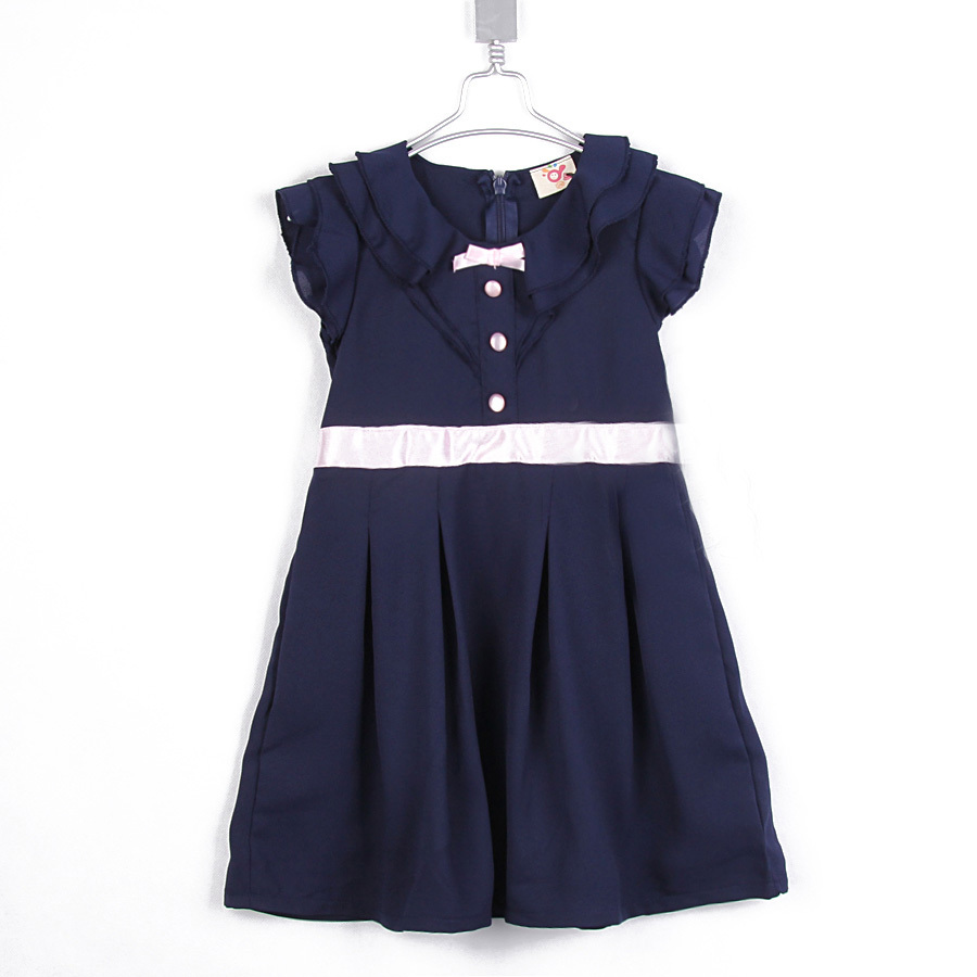 2015 summer fashionable bow dress baby girls solid color dress beautiful casual A-line dress A1622(China (Mainland))