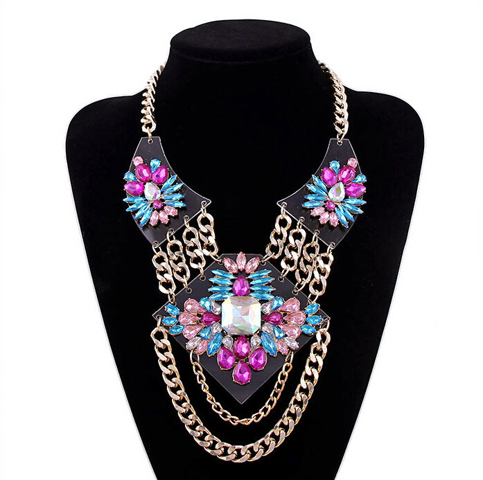 2015 New Fashion Jewelry Crystal European and American Style Crystal Gem Tassel Chain Chokers Necklaces For Women N1706(China (Mainland))