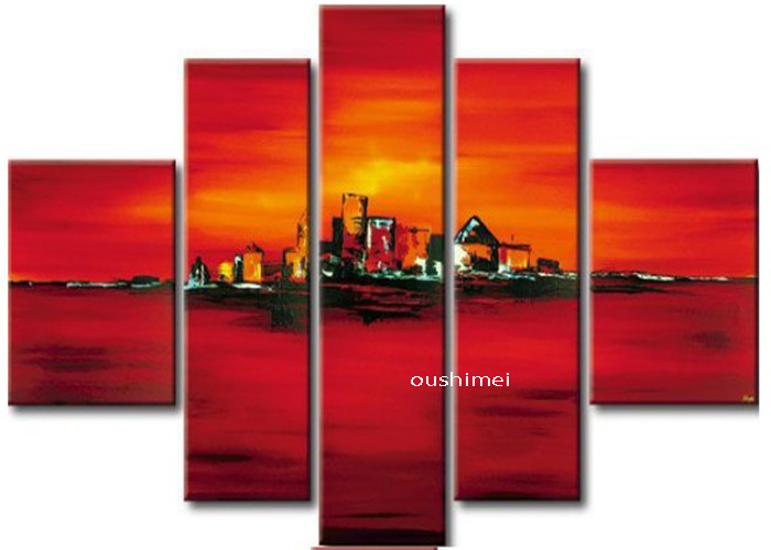 Hand-painted Modern Landscape Oil Painting Match No Frame 5pcs/set Abstract Picture Art For Living Room Red Group Of Pictures