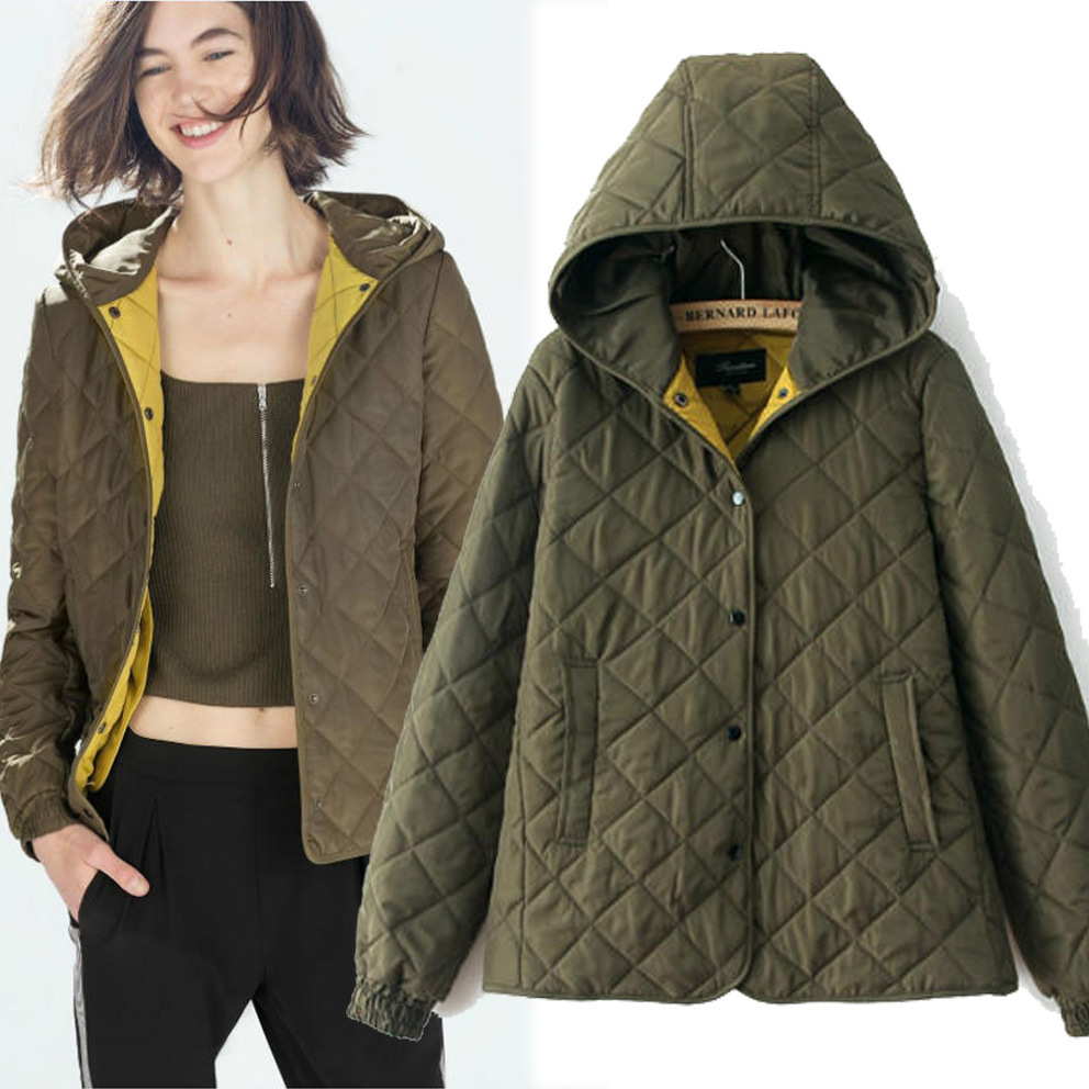 Womens wear autumn 2015 Europe Candy-colored diamond plaid cotton down Jacket ladies winter padded coat free shipping clothing(China (Mainland))