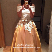 Sexy Shoulder Long Prom Dresses 2016 Line Gold Satin White Applique Evening Dress Gown Arabic Middle East Women Vestidos - Sz Ice Beauty store