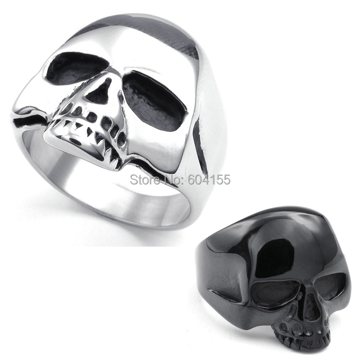 2014 Fashion jewelry Titanium Stainless steel Casting Silver/Black Men's Skull Ring FREE SHIPPING US 7-14(China (Mainland))