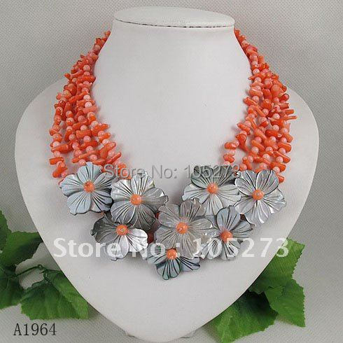 Wholesale fashion Nice shell flower pink rose coral flower necklace 4rows 18-21inch fashion jewelry 1pcs/lot free shipping A1964<br><br>Aliexpress