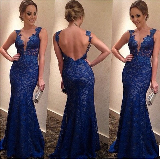 so sweet Luxury Blue Lace Crochet Prom Dress Floor Length Bodycon Mermaid Dress DR2013(China (Mainland))