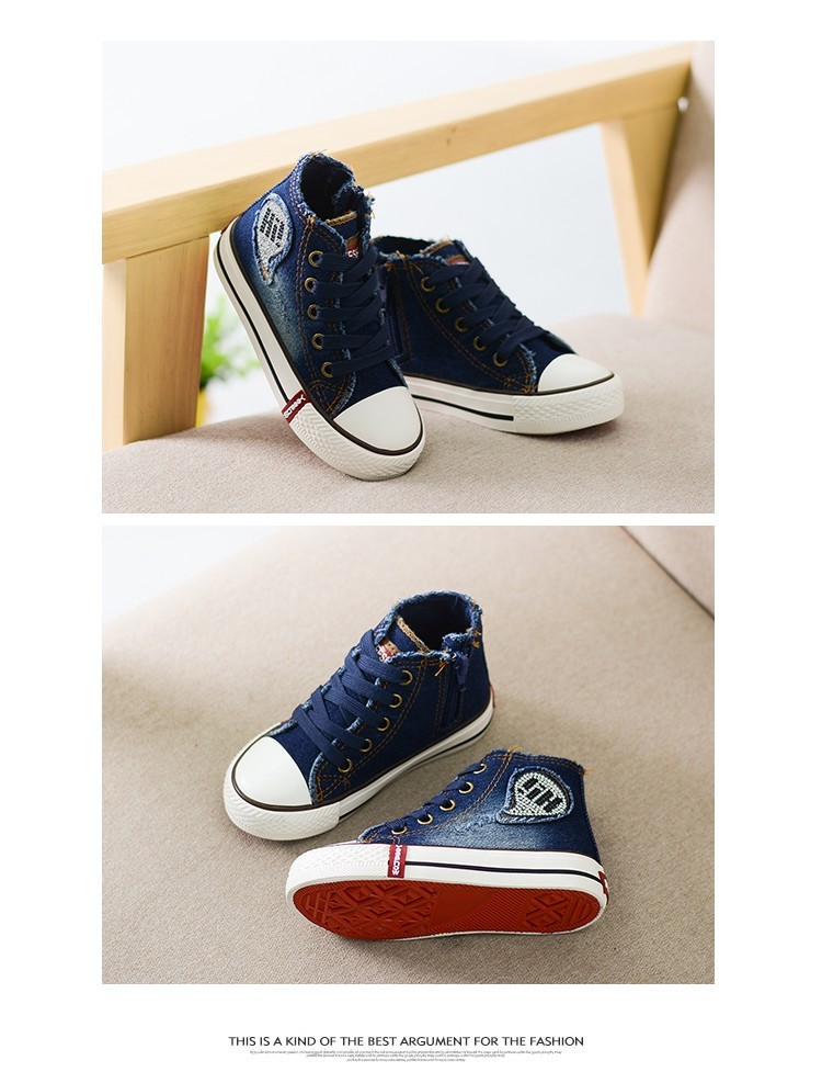 Children Canvas Shoes Kids Boys Girls Denim Fashion Sneakers High Top Sneakers Classic Spring Casual Shoes for Chrismas (5)