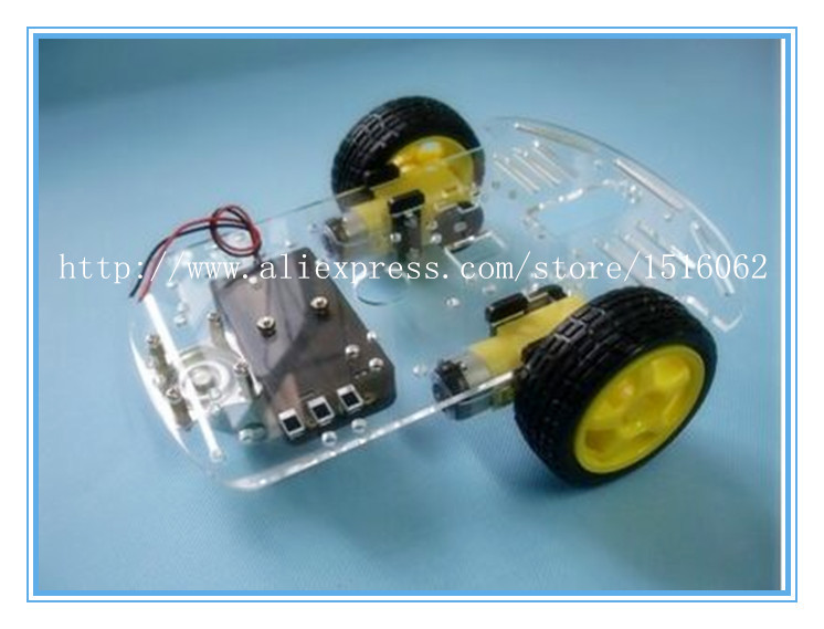 New Motor Smart Robot Car Chassis Kit Speed Encoder Battery Box 2WD For Arduino Free Shipping(China (Mainland))
