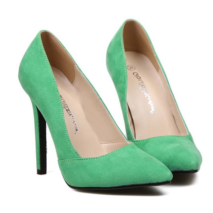 Green Suede Sexy High Heels Brand Women Pumps Ladies Nightclubs Office Shoes Woman Chaussure Femme Zapatos Mujer sapato feminino<br><br>Aliexpress