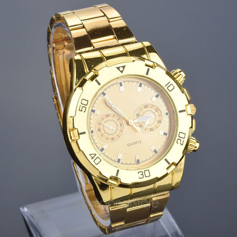 Golden silver New Clock Fashion Men watch full gold silver Stainless Steel Quartz watches Wrist Watch