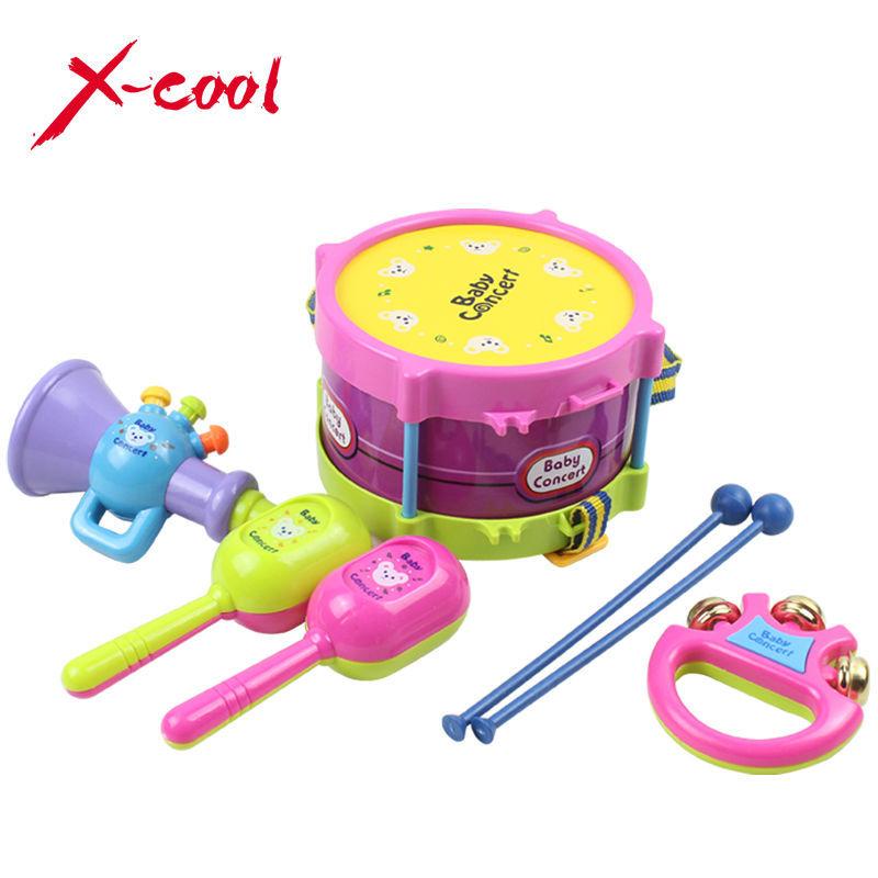 Free Shipping 5pcs/set Musical Instruments Playing Set Colorful Educational Toys Drum/Handbell /Trumpet/Sand Hammer/Drum Sticks(China (Mainland))