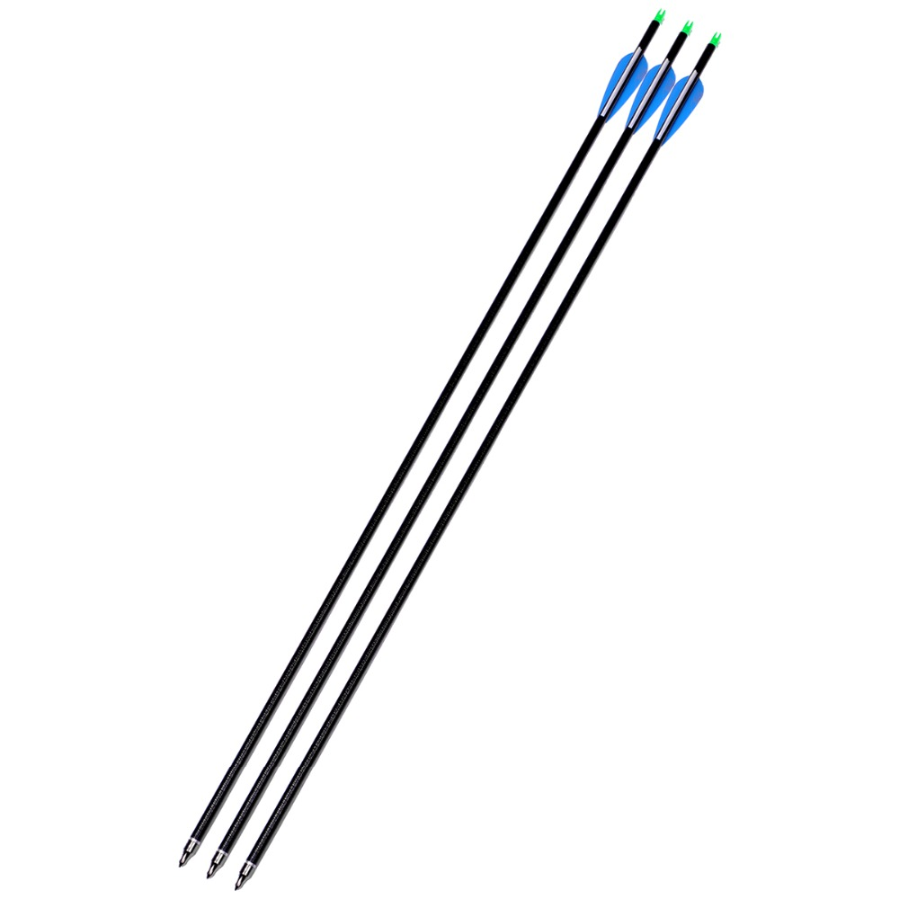 3pcs Archery Fiberglass Arrows 32 Inch(82cm) Spine 600 Curly Fiberglass Shaft for Hunting Compound &Recurve Bow