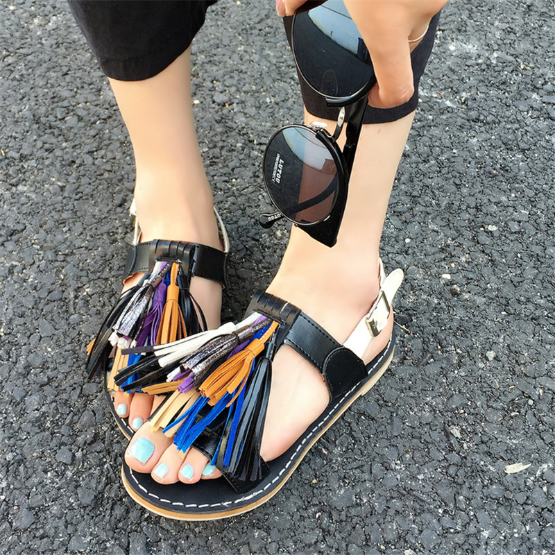 Women Sandals 2016 Fashion Leather Flat Summer Shoes sandalias mujer Ankle Strap Beach Shoes woman gladiator fringe sandals