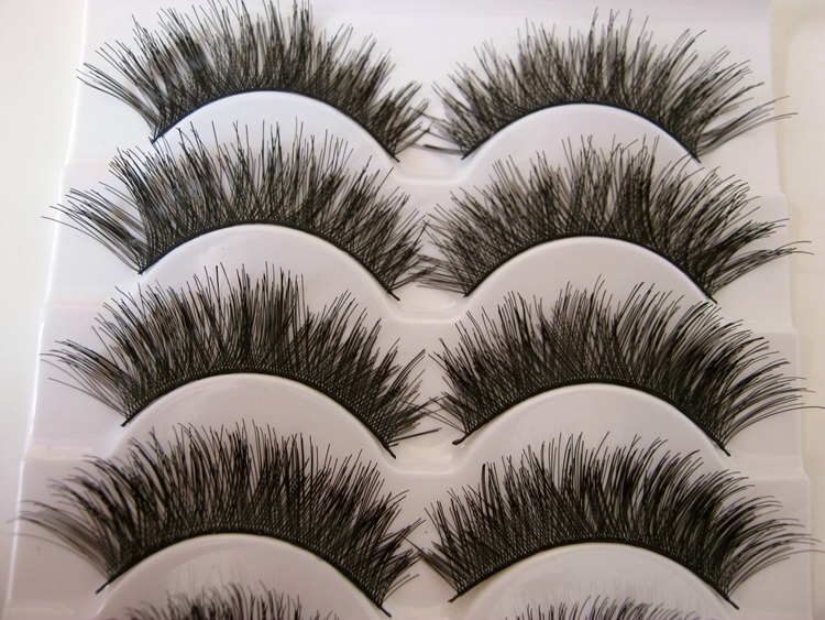 Free shipping 2014 hot sale 5 Pairs/lot natural long thick cocking up girl High quality false eyelashes charming fake eyelashes(China (Mainland))