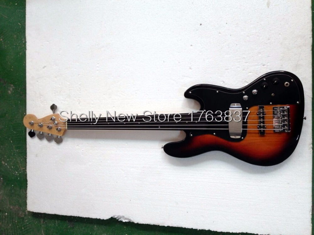 Shelly new store Jazz alder body ebony fingerboard fretless Marcus Miller 5 strings electric bass guitar musical instrument shop(China (Mainland))