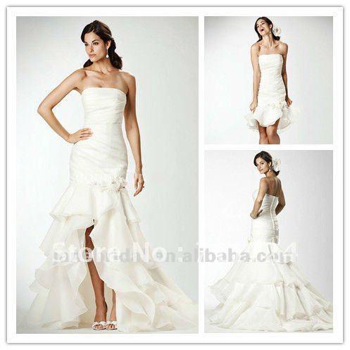 Pearl white mermaid wedding dresses removable skirt in for Wedding dresses straight cut