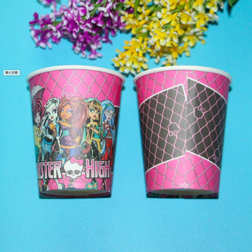 10pcs monster high theme printing paper cup tableware for for Themed printer paper