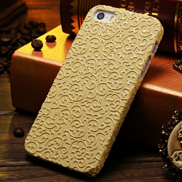 Luxury Palace Flower 3D Pattern Hard Case for iPhone 5 5S 5G Mobile Phone Back Cover for iPhone5 Gold White(China (Mainland))