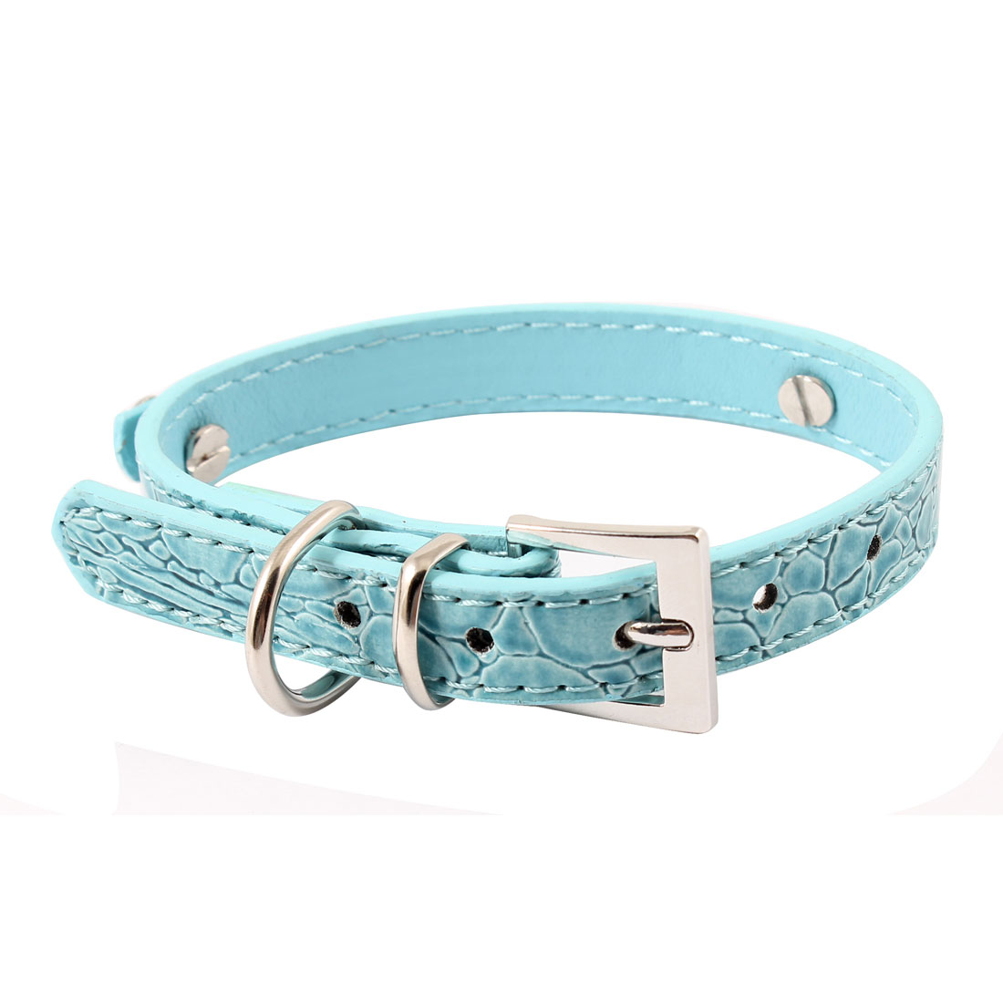 Single Pin Buckle Blue Alligator Pattern Pet Cat Tea Cup Poodle Dog Collar XS(China (Mainland))