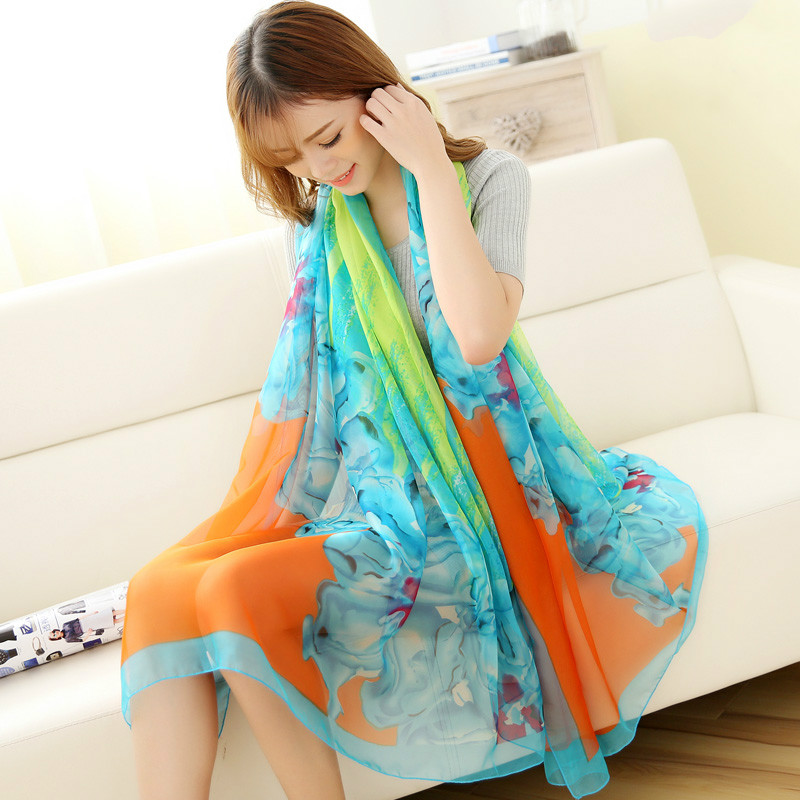 hot sale women long silk scarf cape broadened textile printing scarves chiffon scarf fashion shawls super comfortable wrap-b138(China (Mainland))