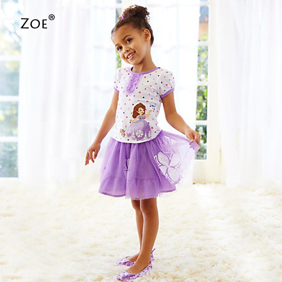 2015 vestido princesa sofia summer Casual clothing set 2 pieces Lace Tshirts+short skirts with cartoon clothing baby girls dress(China (Mainland))
