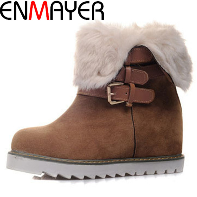 ENMAYER Free shipping beautiful solid snow  boots slip-on buckle+lapel wool short  shoes for women warm shortplush winter boots<br><br>Aliexpress