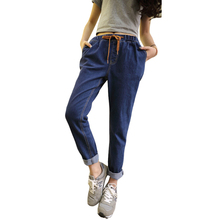 Plus Large Size XL-5XL 2016 Summer New Women Ankle-Length Jeans Pant Hot Selling Fashion Casual Elastic Waist Show Slim Pants