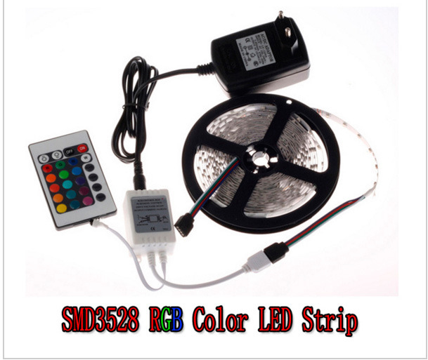 LED Strip RGB 5M 300Led 3528 SMD 24Key IR Remote Controller 12V 2A Power Adapter Flexible Light Led Tape Home Decoration Lamps(China (Mainland))