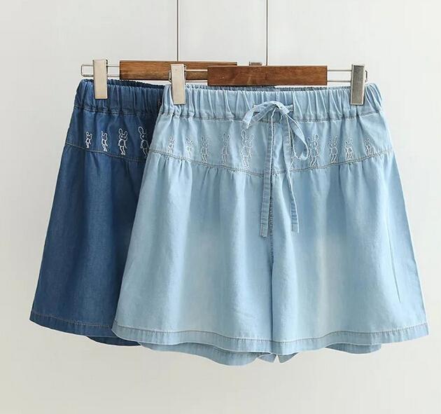 Пять кролики вышивка широкий джинсовые шорты небольшой брюки мори девушка 2016 лето