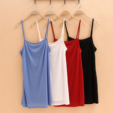 Women lining Camisole Solid Sleeveless Summer Tank TOP Vest Spaghetti Strap Basic Under SLIP Tee Shirt Mini Dress Size S/M/L/XL