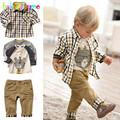 Kids Boys Costume Children Clothes Plaid Coat T Shirt Pants 3pcs Baby Suits Toddler Boy Clothing
