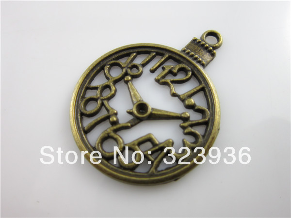 Free Shipping 10pcs DIY Jewelry Findings Slide Charms Jewelry Making Accessories Bracelet Connectors Clock Pendants(China (Mainland))