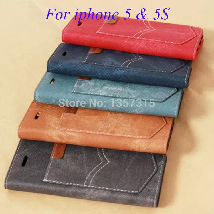 Fashion Denim Flip Leather Case Iphone 5 5s Wallet Photo Card Holders & Stands Cover Bag - HHBO K store