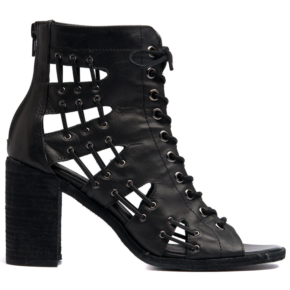 sandal open toe lace up ankle boot with cut outs and