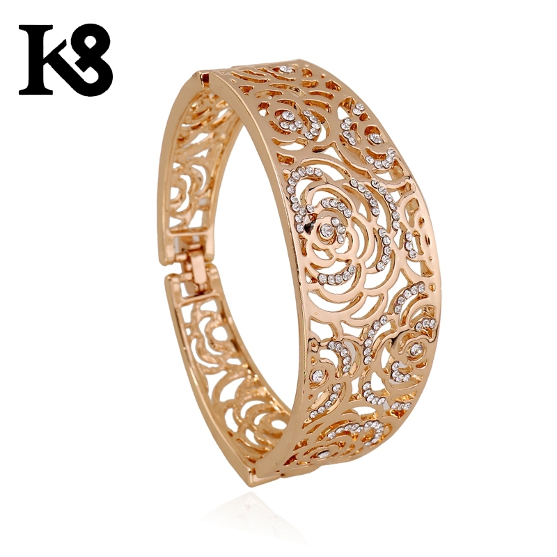 18K Jewelry Gold Flower Bangle Female Fashion Crystal Flower Bangles Special Gift For Girlfriend&Women[b3263-27g](China (Mainland))