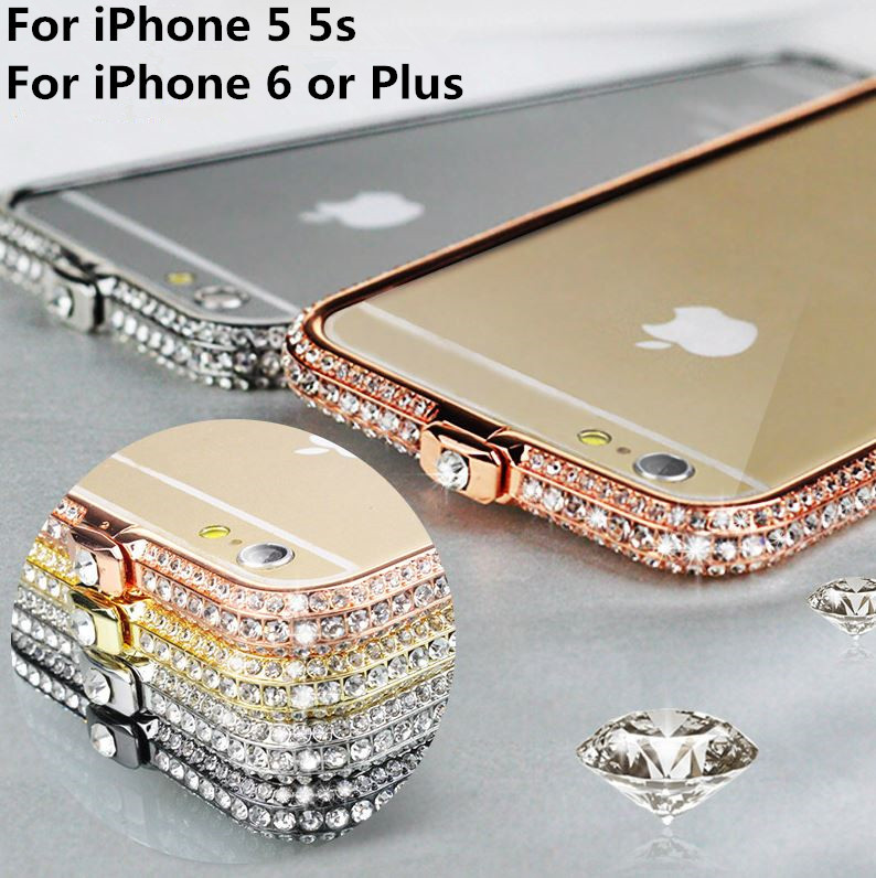 High quality Luxury Crystal Rhinestone Crown Diamond Bling Aluminum Matel Bumper Case Cover For Apple iphone 6 & 6 Plus 5 5s(China (Mainland))