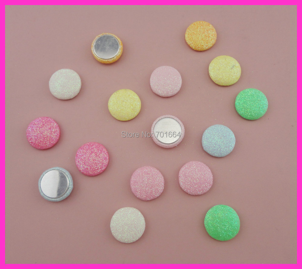 50PCS Assorted Colors 20mm round sweet glitter covered button with flat back as hair accessories&jewelry accessories(China (Mainland))