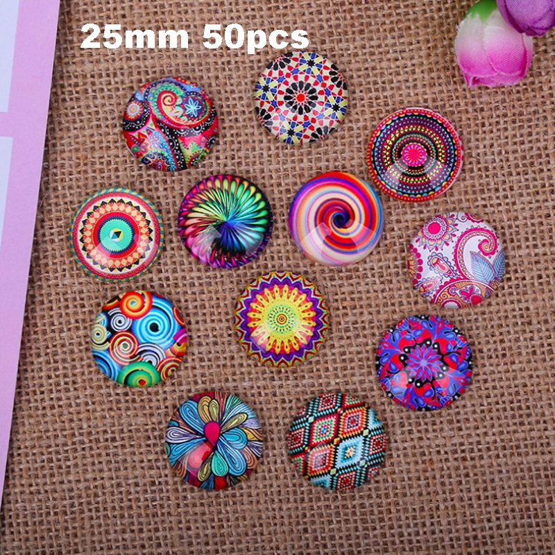 50pcs flatback mix glass cabochons 25mm diy hair ornaments decoration accessories hot sale(China (Mainland))