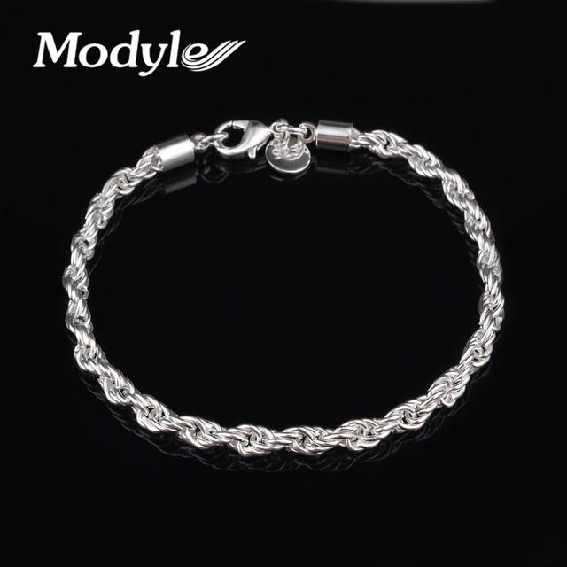 Мода посеребренные цепочки браслеты для женщин шарма витой ссылка браслеты и браслеты ...