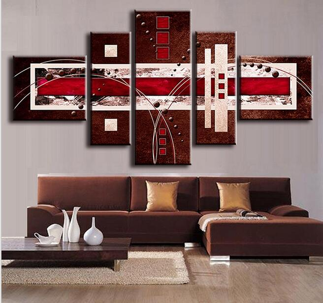 5 Pcs/Set Combined Modern Abstract Oil Painting Brown Red ...