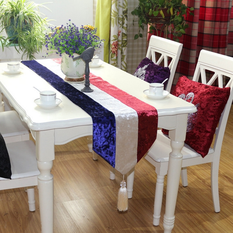 Euro style high-grade velvet striped table flag 3 colors patchwork table runner for wedding / party home decoration Q84(China (Mainland))