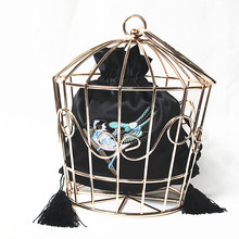 2016 Women unique Prom bags brand fashion Stylish metal hook flower embroidery hoop cage handbag novelty catwalk party dress bag(China (Mainland))