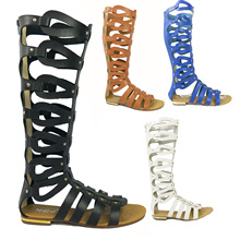 Tide Shoes Sandals Sexy Plus-size Leisure Cut-OutsFlats High shaft Cool Boots Summer Shoes Women leather -pu Fashionable joker
