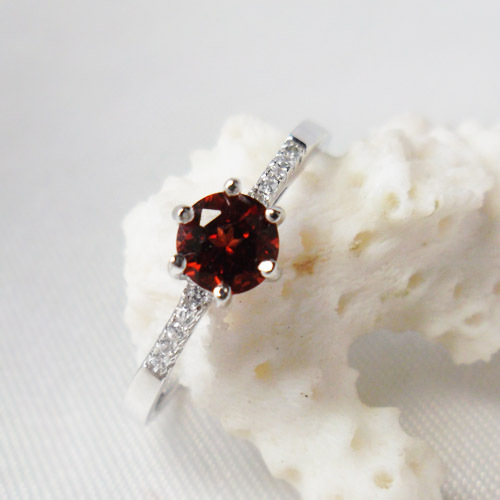 Hot sale silver red garnet ring for girl genuine garnet jewelry round semi-precious stone ring buy directly jewelry factory(China (Mainland))