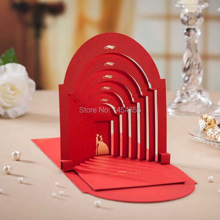 1 White Lovers-style Bride Groom 3D Pop wedding invitation cards - MinMin Coney store