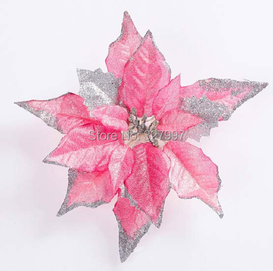 25cm Christmas decoration ornaments flower maple leaf poinsettia exquisite floral glitter decoracion de navidad 15pcs/lot(China (Mainland))